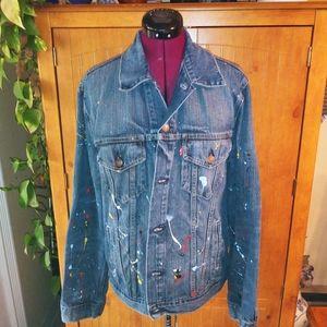 Vintage Levi Straus Paint Spattered Jeans Jacket